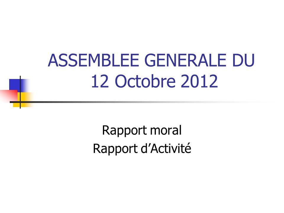 ASSEMBLEE GENERALE DU 12 Octobre 2012 Rapport moral Rapport d'Activité