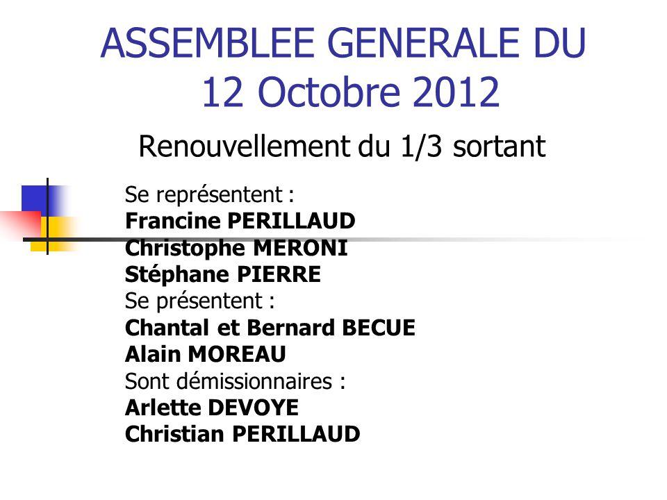 ASSEMBLEE GENERALE DU 12 Octobre 2012 Renouvellement du 1/3 sortant Se représentent : Francine PERILLAUD Christophe MERONI Stéphane PIERRE Se présente