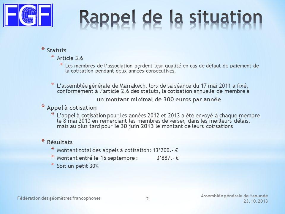Assemblée générale de Yaoundé 23.10.2013 Fédération des géomètres francophones 3