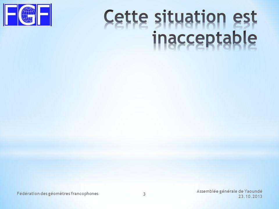 Assemblée générale de Yaoundé 23.10.2013 Fédération des géomètres francophones 4 * A disposition: * 22 membres à 300 € = 6'600 € * Charges * Frais de séances 1'200 € * AG / Congrès2'000 € * Frais d'administration1'000 € * Frais de déplacement1'200 € * Site internet 200 € * Projets / Études1'000 € * Total6'600 €