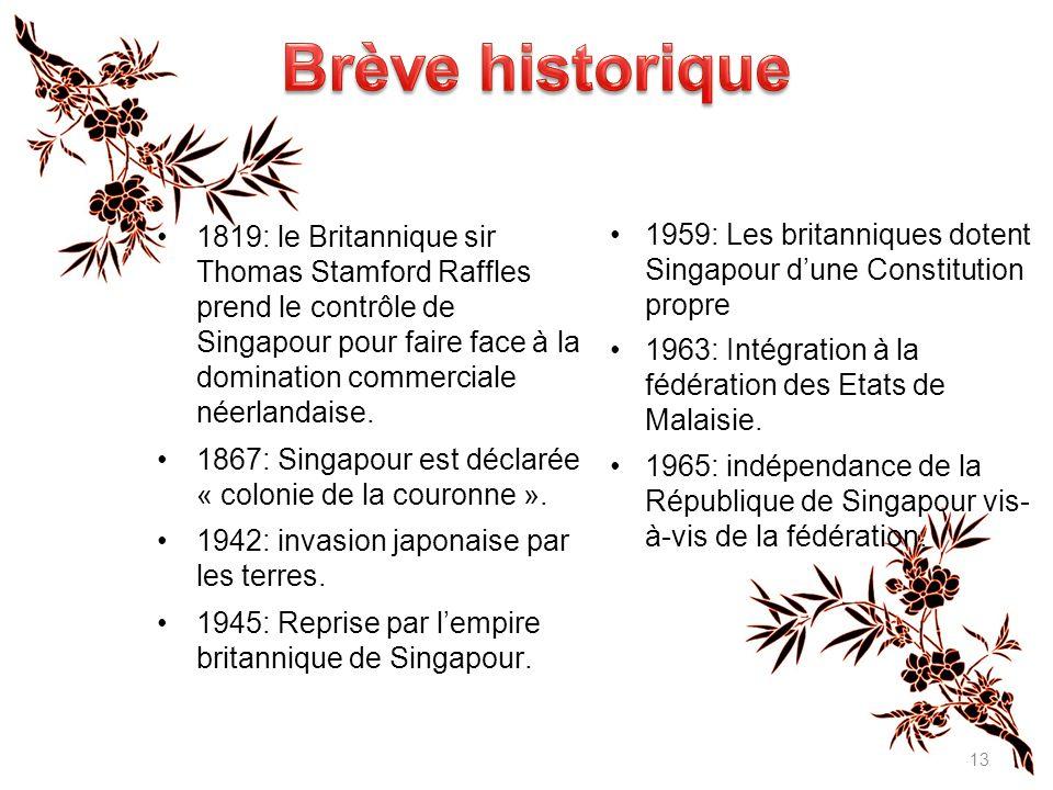 13 1959: Les britanniques dotent Singapour d'une Constitution propre 1963: Intégration à la fédération des Etats de Malaisie.