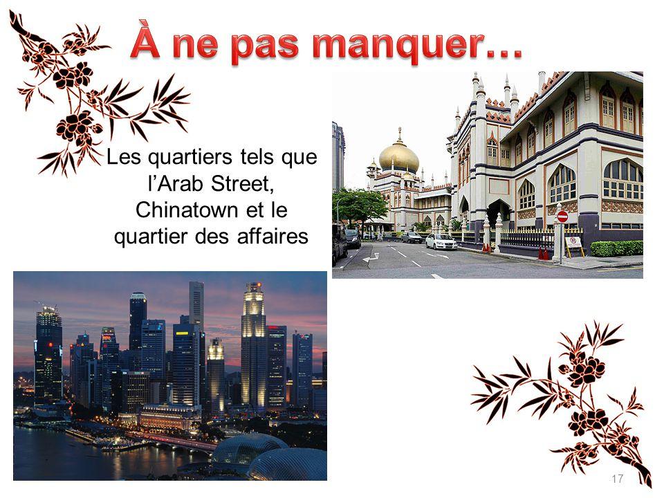 17 Click to edit Master text styles Les quartiers tels que l'Arab Street, Chinatown et le quartier des affaires