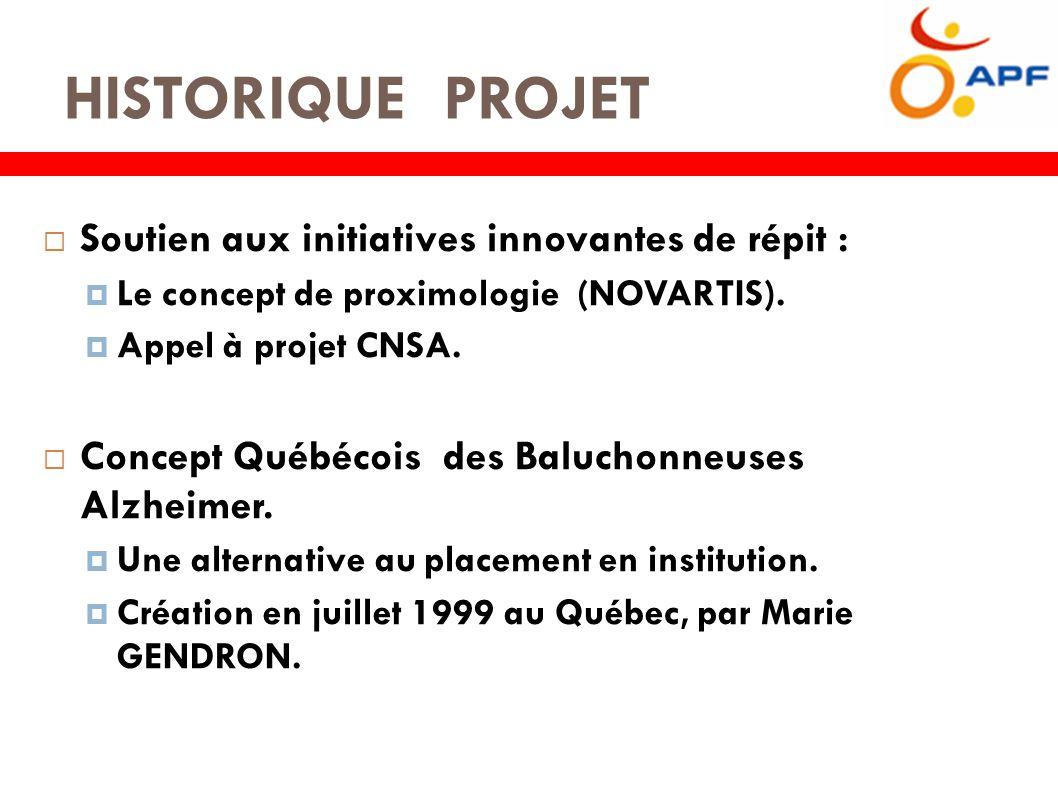 HISTORIQUE PROJET  Soutien aux initiatives innovantes de répit :  Le concept de proximologie (NOVARTIS).
