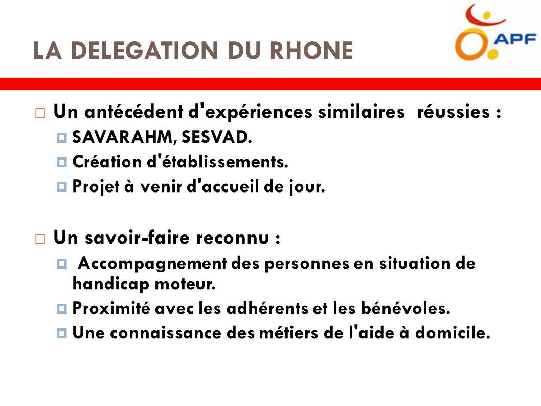 LA DELEGATION DU RHONE  Un antécédent d expériences similaires réussies :  SAVARAHM, SESVAD.