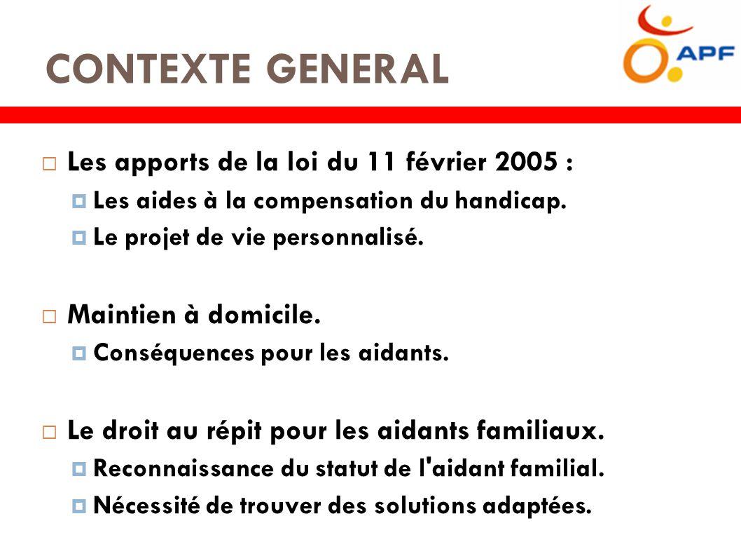 CONTEXTE GENERAL  Les apports de la loi du 11 février 2005 :  Les aides à la compensation du handicap.