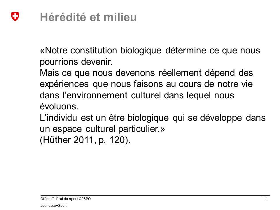 11 Office fédéral du sport OFSPO Jeunesse+Sport Hérédité et milieu «Notre constitution biologique détermine ce que nous pourrions devenir. Mais ce que