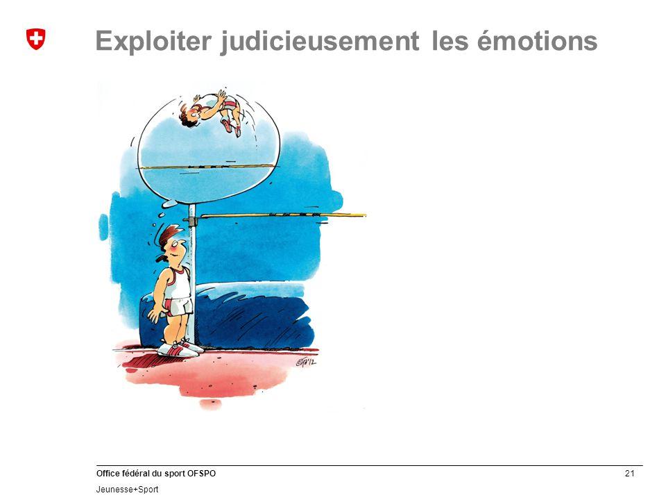 21 Office fédéral du sport OFSPO Jeunesse+Sport Exploiter judicieusement les émotions