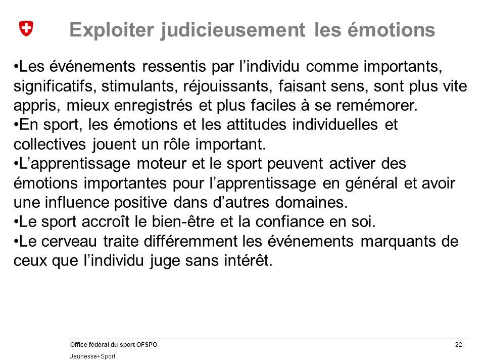 22 Office fédéral du sport OFSPO Jeunesse+Sport Exploiter judicieusement les émotions Les événements ressentis par l'individu comme importants, significatifs, stimulants, réjouissants, faisant sens, sont plus vite appris, mieux enregistrés et plus faciles à se remémorer.
