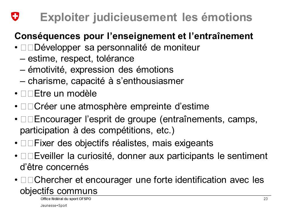 23 Office fédéral du sport OFSPO Jeunesse+Sport Exploiter judicieusement les émotions Conséquences pour l'enseignement et l'entraînement Développer