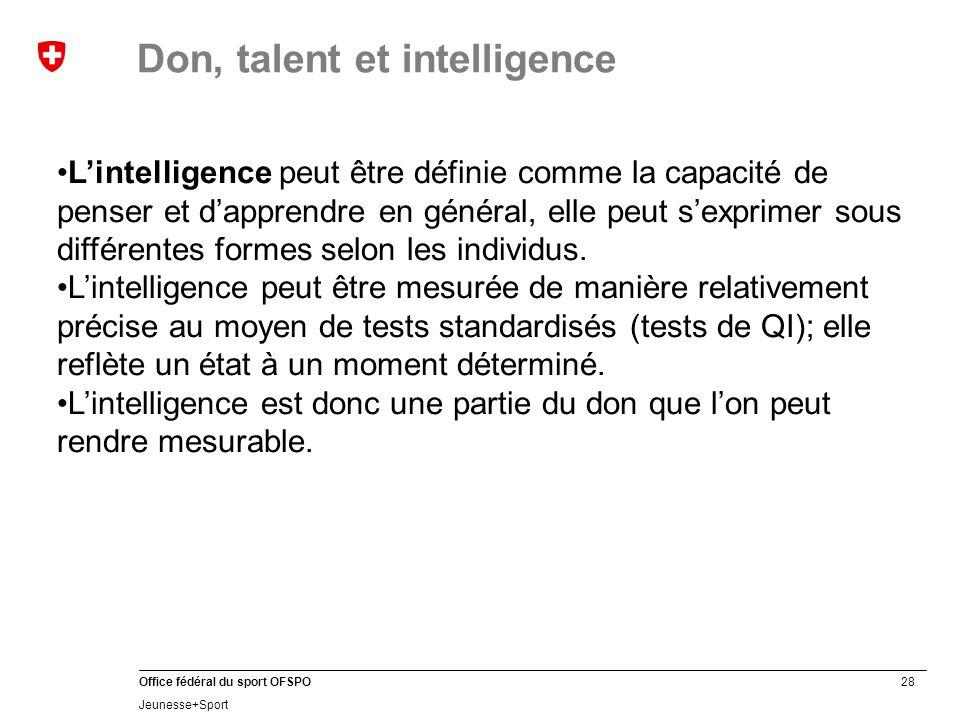 28 Office fédéral du sport OFSPO Jeunesse+Sport Don, talent et intelligence L'intelligence peut être définie comme la capacité de penser et d'apprendre en général, elle peut s'exprimer sous différentes formes selon les individus.