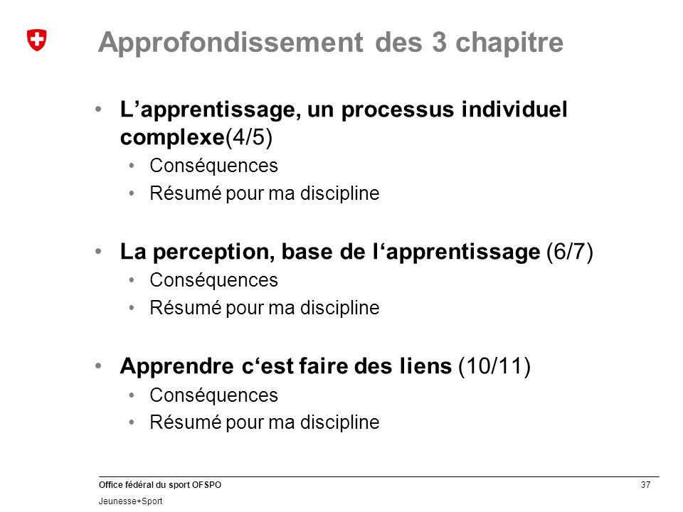 37 Office fédéral du sport OFSPO Jeunesse+Sport L'apprentissage, un processus individuel complexe(4/5) Conséquences Résumé pour ma discipline La perce