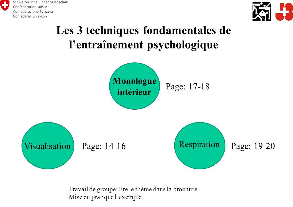 Les 3 techniques fondamentales de l'entraînement psychologique Travail de groupe: lire le thème dans la brochure.