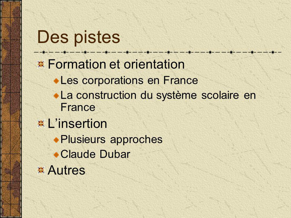 Des pistes Formation et orientation Les corporations en France La construction du système scolaire en France L'insertion Plusieurs approches Claude Dubar Autres