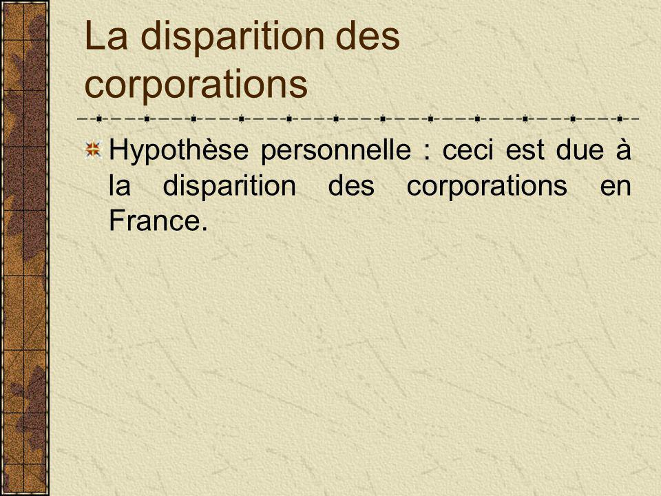 La disparition des corporations Hypothèse personnelle : ceci est due à la disparition des corporations en France.