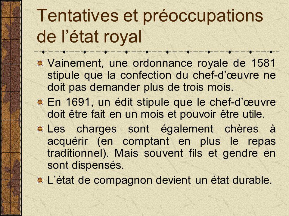 Tentatives et préoccupations de l'état royal Vainement, une ordonnance royale de 1581 stipule que la confection du chef-d'œuvre ne doit pas demander plus de trois mois.