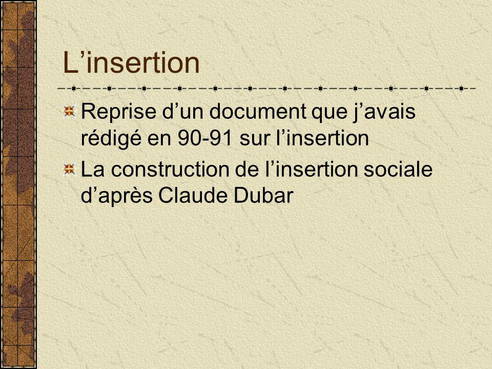 L'insertion Reprise d'un document que j'avais rédigé en 90-91 sur l'insertion La construction de l'insertion sociale d'après Claude Dubar