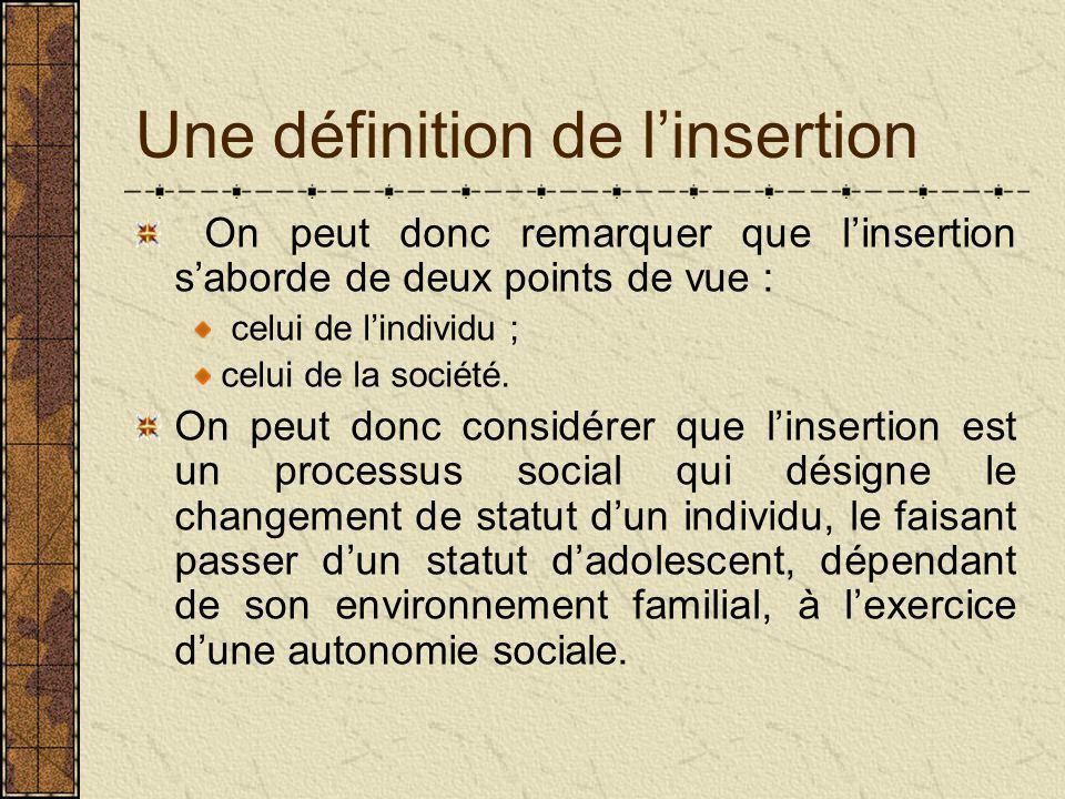 Une définition de l'insertion On peut donc remarquer que l'insertion s'aborde de deux points de vue : celui de l'individu ; celui de la société.