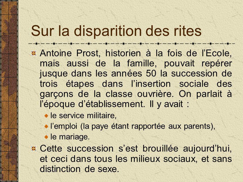 Sur la disparition des rites Antoine Prost, historien à la fois de l'Ecole, mais aussi de la famille, pouvait repérer jusque dans les années 50 la succession de trois étapes dans l'insertion sociale des garçons de la classe ouvrière.