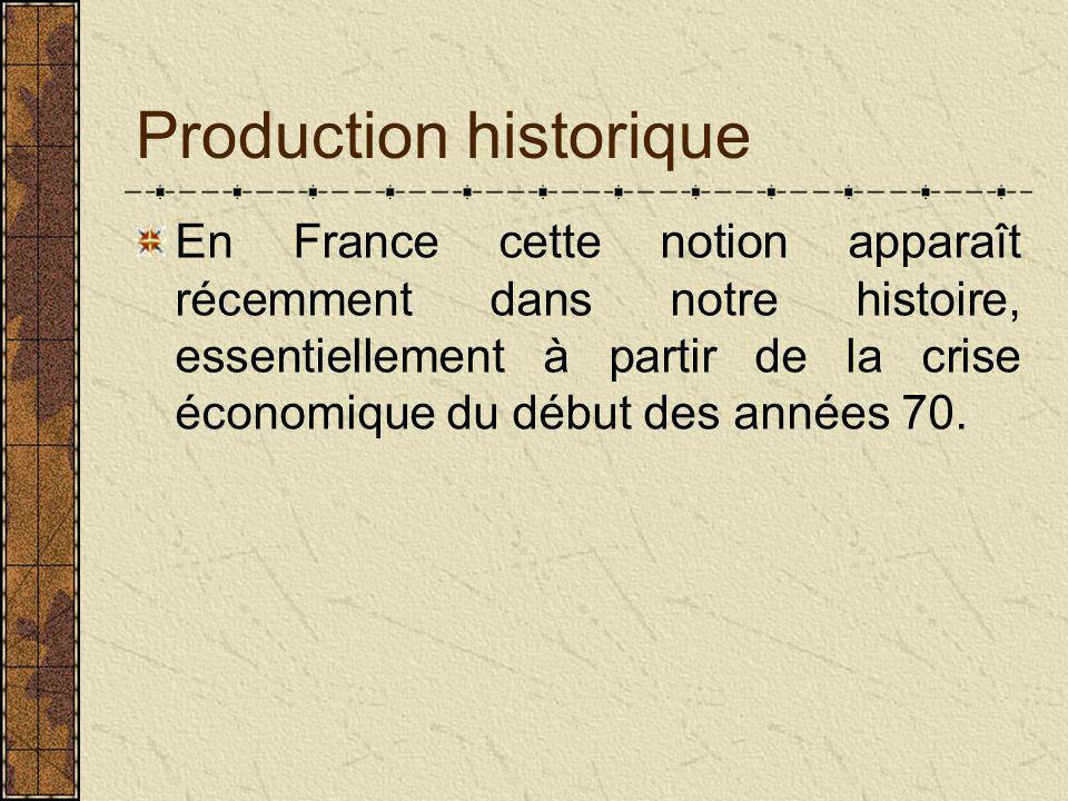 Production historique En France cette notion apparaît récemment dans notre histoire, essentiellement à partir de la crise économique du début des années 70.