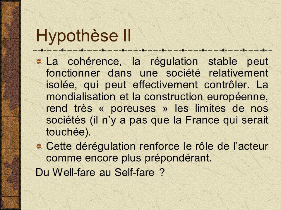 Hypothèse II La cohérence, la régulation stable peut fonctionner dans une société relativement isolée, qui peut effectivement contrôler.