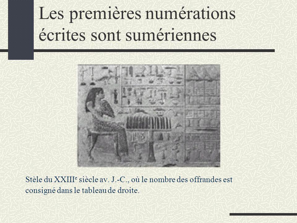 Les premières numérations écrites sont sumériennes Stèle du XXIII e siècle av. J.-C., où le nombre des offrandes est consigné dans le tableau de droit