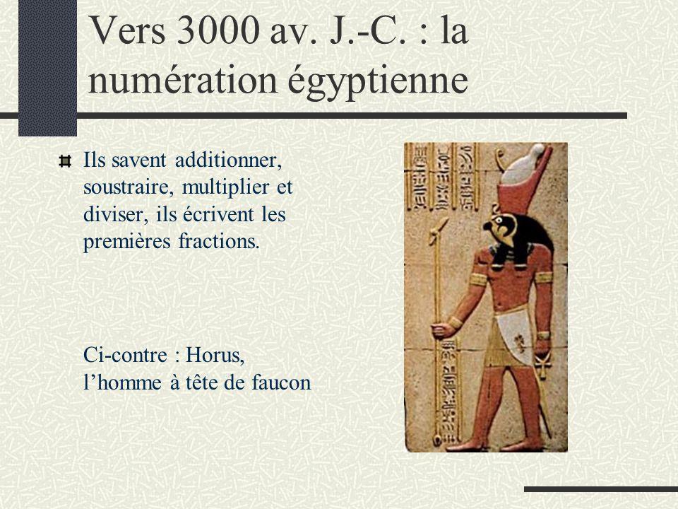 Vers 3000 av. J.-C. : la numération égyptienne Ils savent additionner, soustraire, multiplier et diviser, ils écrivent les premières fractions. Ci-con