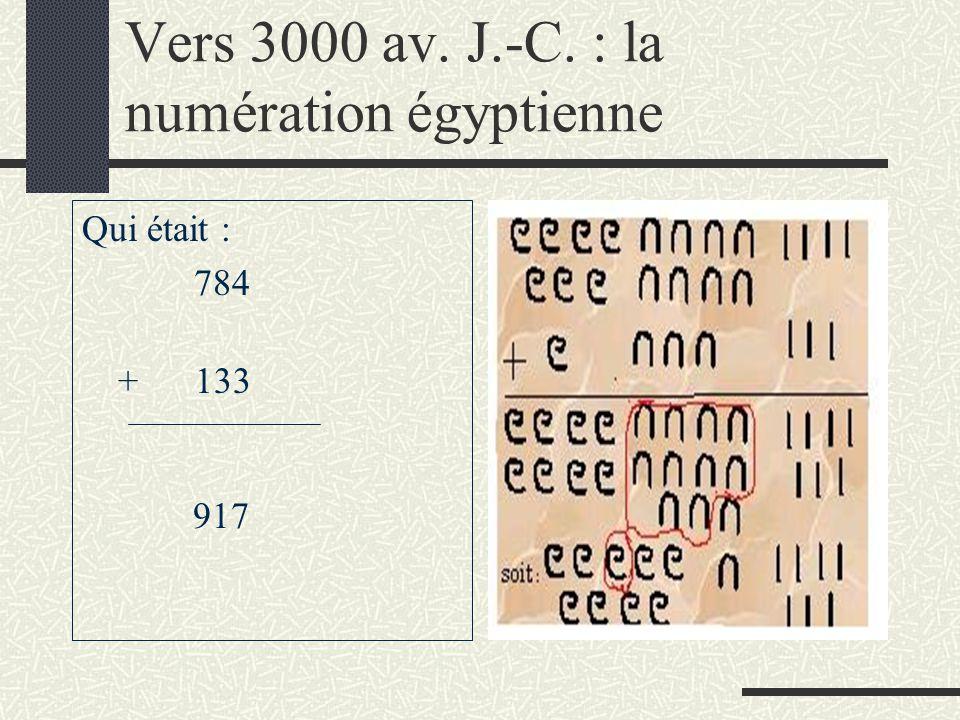 Vers 3000 av. J.-C. : la numération égyptienne Qui était : 784 + 133 917