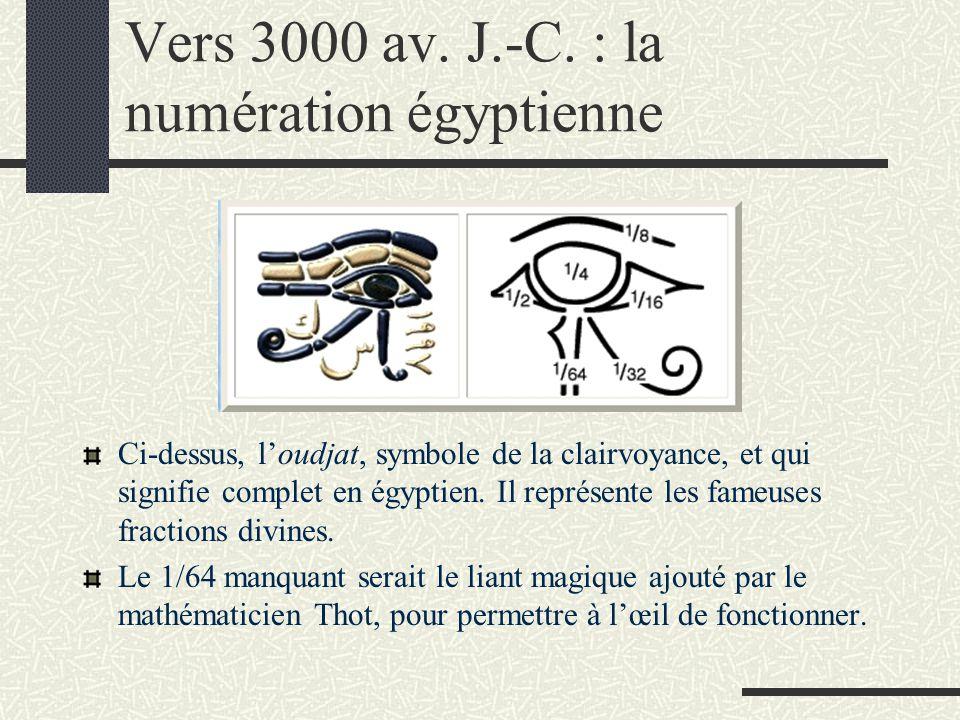Vers 3000 av. J.-C. : la numération égyptienne Ci-dessus, l'oudjat, symbole de la clairvoyance, et qui signifie complet en égyptien. Il représente les