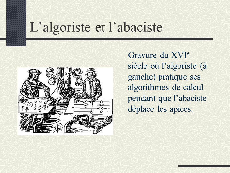 L'algoriste et l'abaciste Gravure du XVI e siècle où l'algoriste (à gauche) pratique ses algorithmes de calcul pendant que l'abaciste déplace les apic