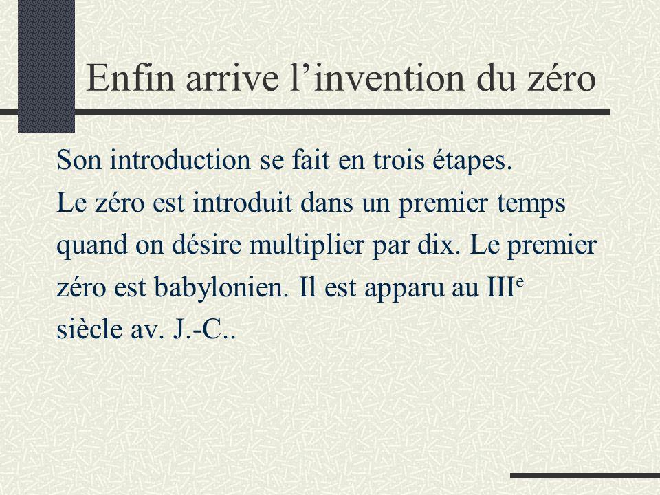 Enfin arrive l'invention du zéro Son introduction se fait en trois étapes. Le zéro est introduit dans un premier temps quand on désire multiplier par