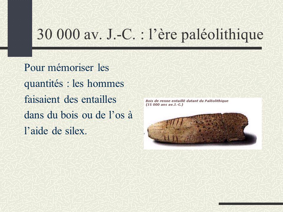 30 000 av. J.-C. : l'ère paléolithique Pour mémoriser les quantités : les hommes faisaient des entailles dans du bois ou de l'os à l'aide de silex.