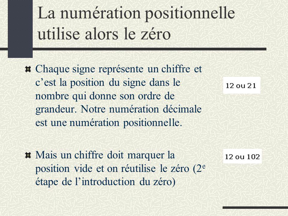 La numération positionnelle utilise alors le zéro Chaque signe représente un chiffre et c'est la position du signe dans le nombre qui donne son ordre