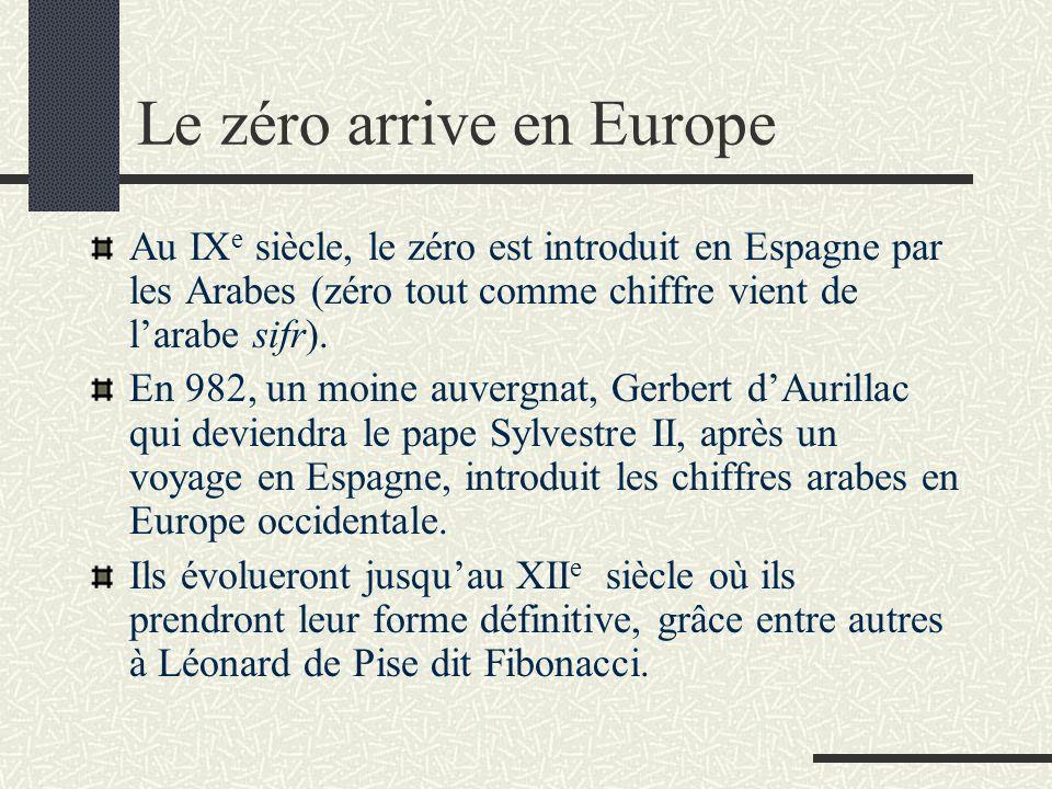 Le zéro arrive en Europe Au IX e siècle, le zéro est introduit en Espagne par les Arabes (zéro tout comme chiffre vient de l'arabe sifr). En 982, un m