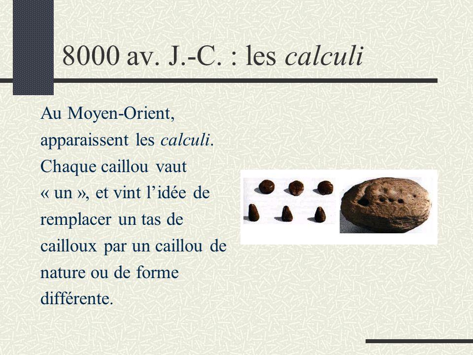 8000 av. J.-C. : les calculi Au Moyen-Orient, apparaissent les calculi. Chaque caillou vaut « un », et vint l'idée de remplacer un tas de cailloux par