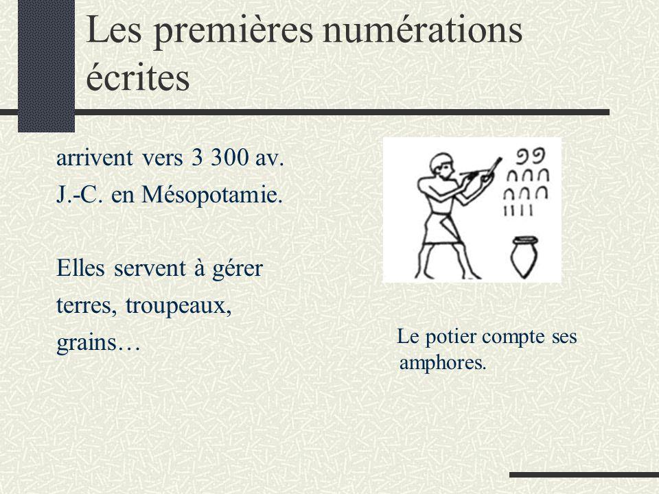Les premières numérations écrites arrivent vers 3 300 av. J.-C. en Mésopotamie. Elles servent à gérer terres, troupeaux, grains… Le potier compte ses
