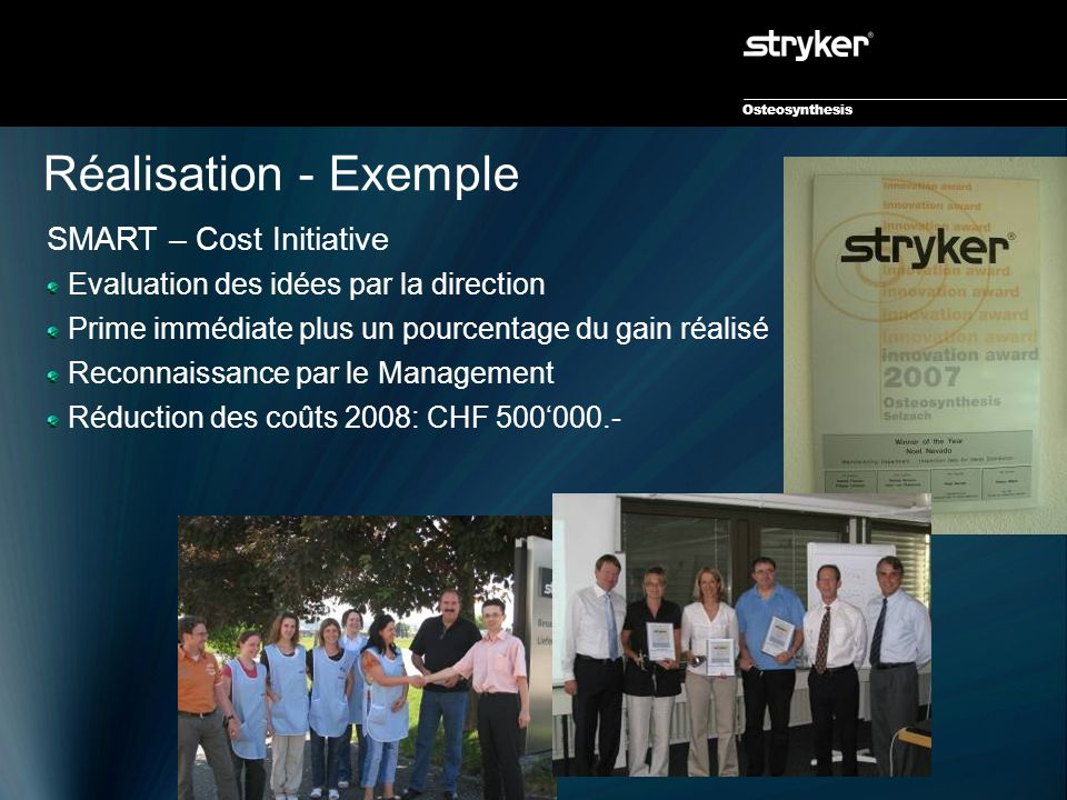 Osteosynthesis Réalisation - Exemple SMART – Cost Initiative Evaluation des idées par la direction Prime immédiate plus un pourcentage du gain réalisé Reconnaissance par le Management Réduction des coûts 2008: CHF 500'000.-