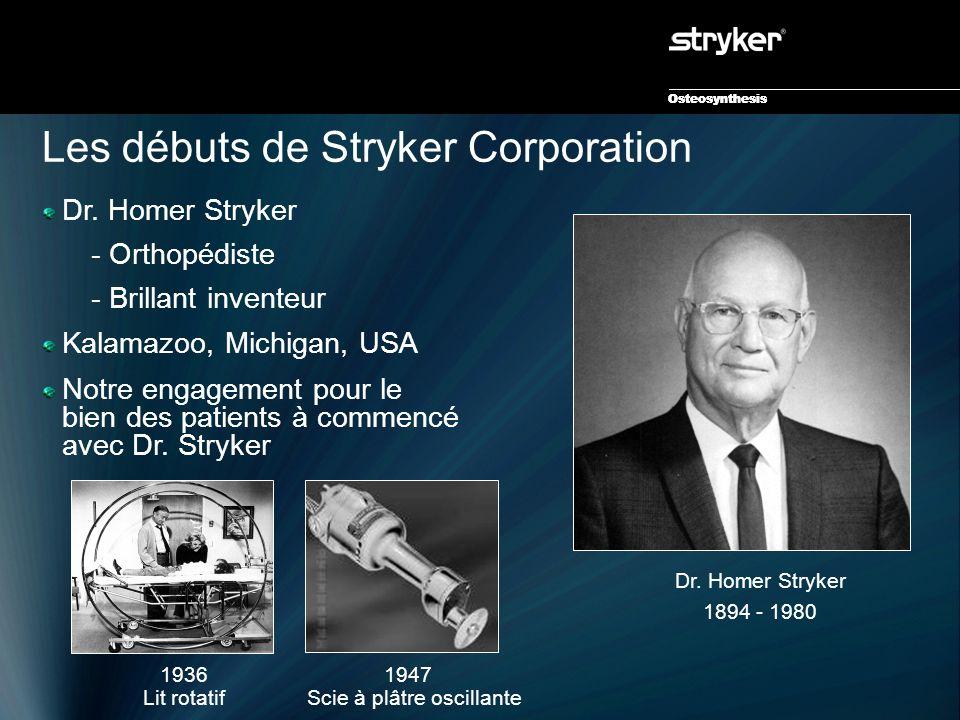 Osteosynthesis Les débuts de Stryker Corporation Dr. Homer Stryker 1894 - 1980 1947 Scie à plâtre oscillante 1936 Lit rotatif Osteosynthesis Dr. Homer