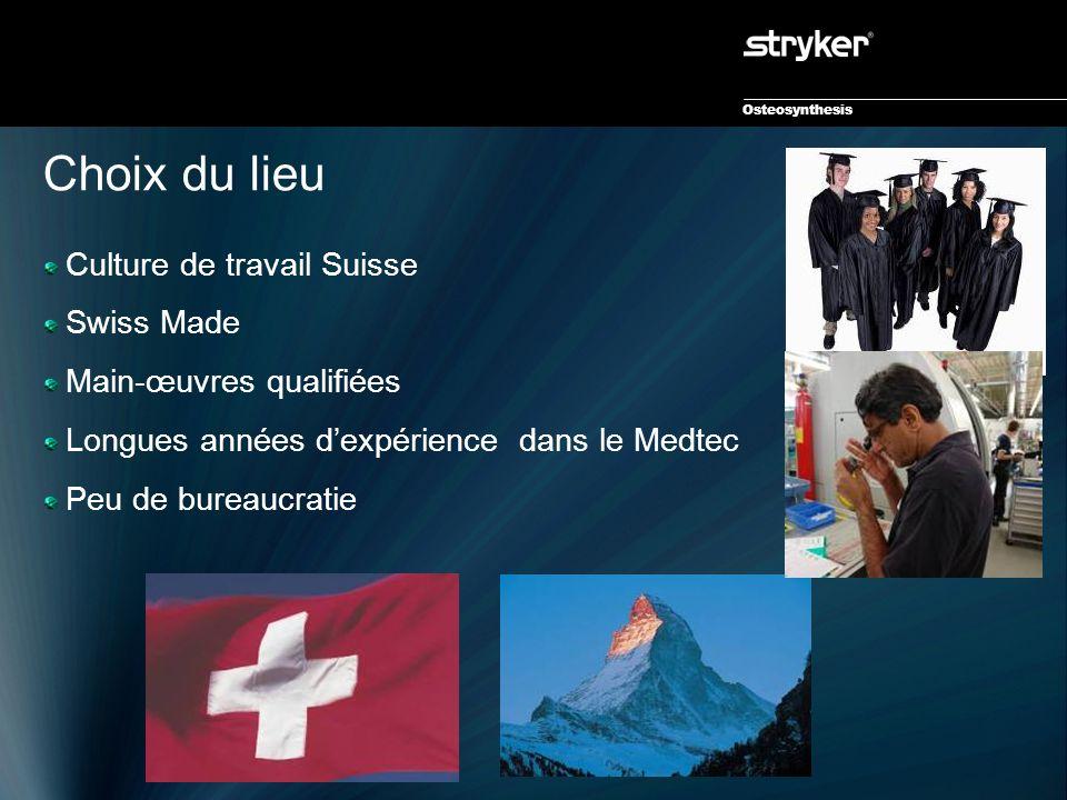 Osteosynthesis Choix du lieu Culture de travail Suisse Swiss Made Main-œuvres qualifiées Longues années d'expérience dans le Medtec Peu de bureaucrati