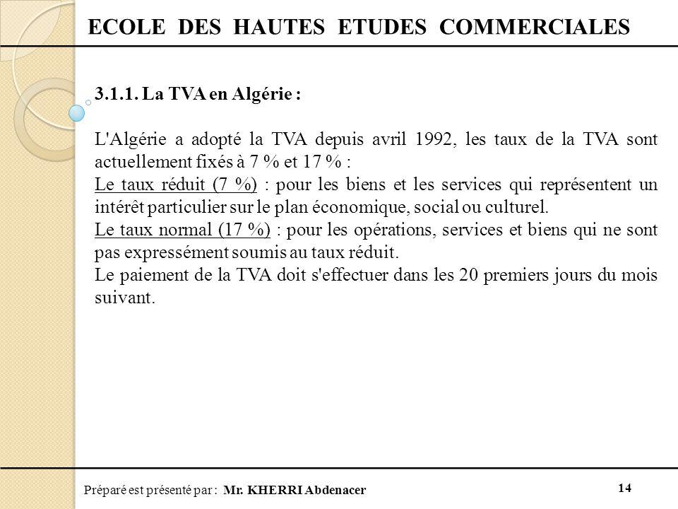 Préparé est présenté par : Mr.KHERRI Abdenacer 14 ECOLE DES HAUTES ETUDES COMMERCIALES 3.1.1.
