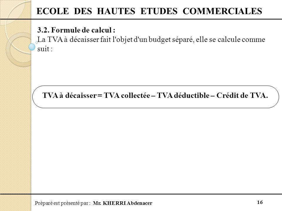 Préparé est présenté par : Mr.KHERRI Abdenacer 16 ECOLE DES HAUTES ETUDES COMMERCIALES 3.2.
