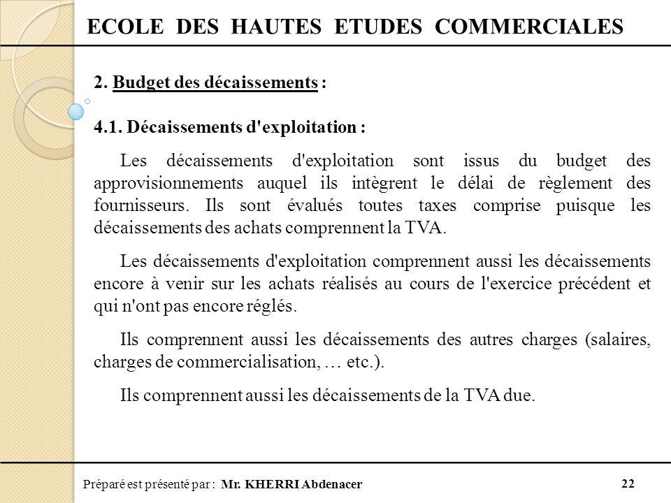 Préparé est présenté par : Mr.KHERRI Abdenacer 22 ECOLE DES HAUTES ETUDES COMMERCIALES 2.