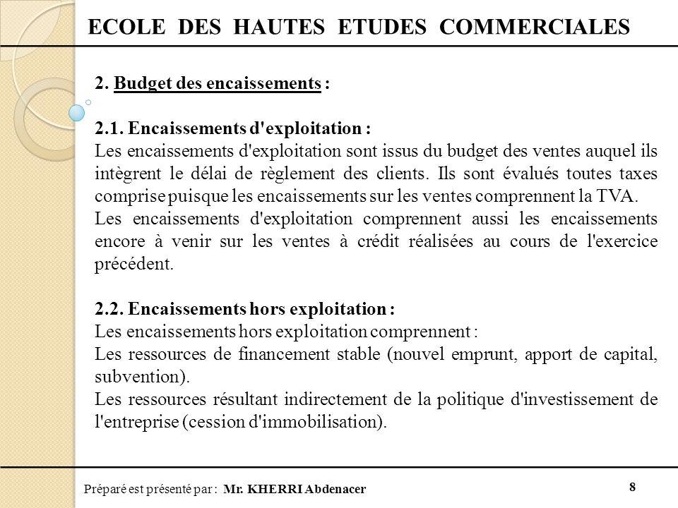 Préparé est présenté par : Mr.KHERRI Abdenacer 8 ECOLE DES HAUTES ETUDES COMMERCIALES 2.