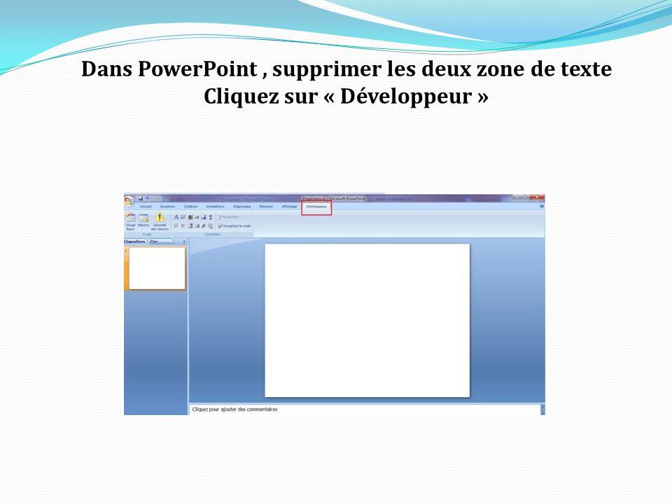 Dans PowerPoint, supprimer les deux zone de texte Cliquez sur « Développeur »