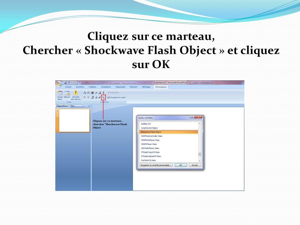 Cliquez sur ce marteau, Chercher « Shockwave Flash Object » et cliquez sur OK