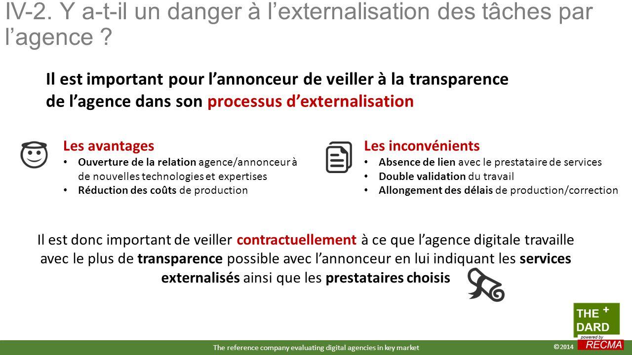 IV-2. Y a-t-il un danger à l'externalisation des tâches par l'agence ? Il est important pour l'annonceur de veiller à la transparence de l'agence dans