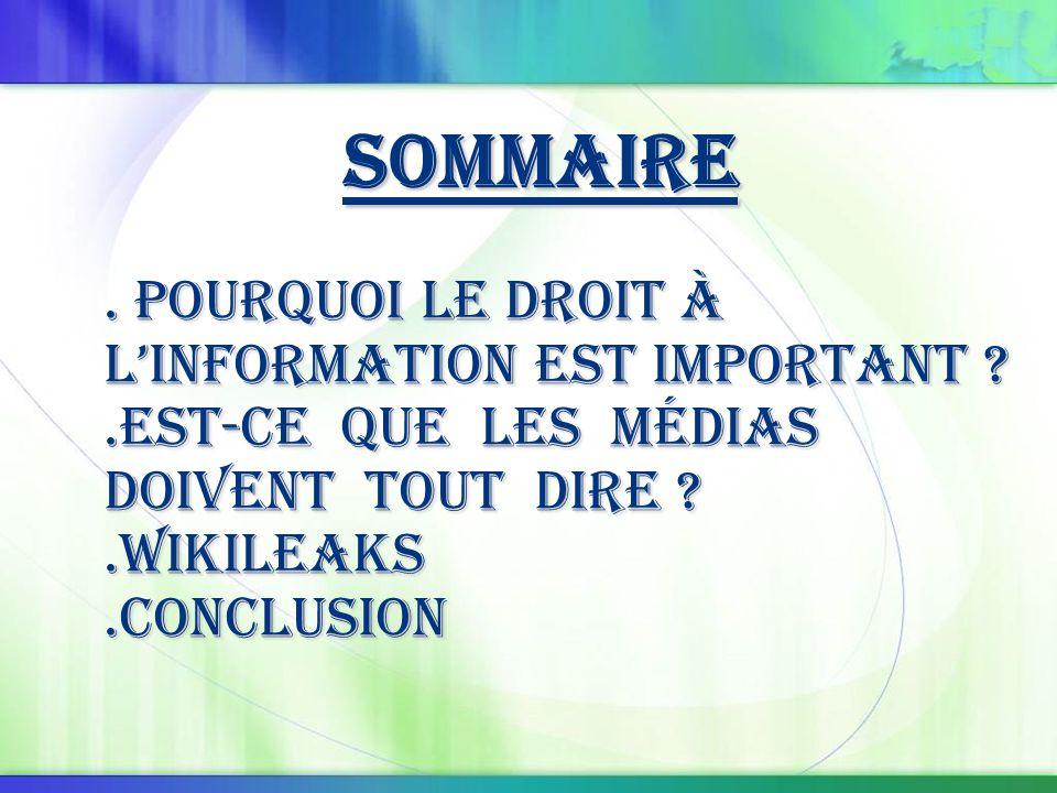 Définition : le droit à l'information C 'est un droit que toute personne physique ou moral possède et qui peuvent demander des informations auprès des autorités publiques concernées