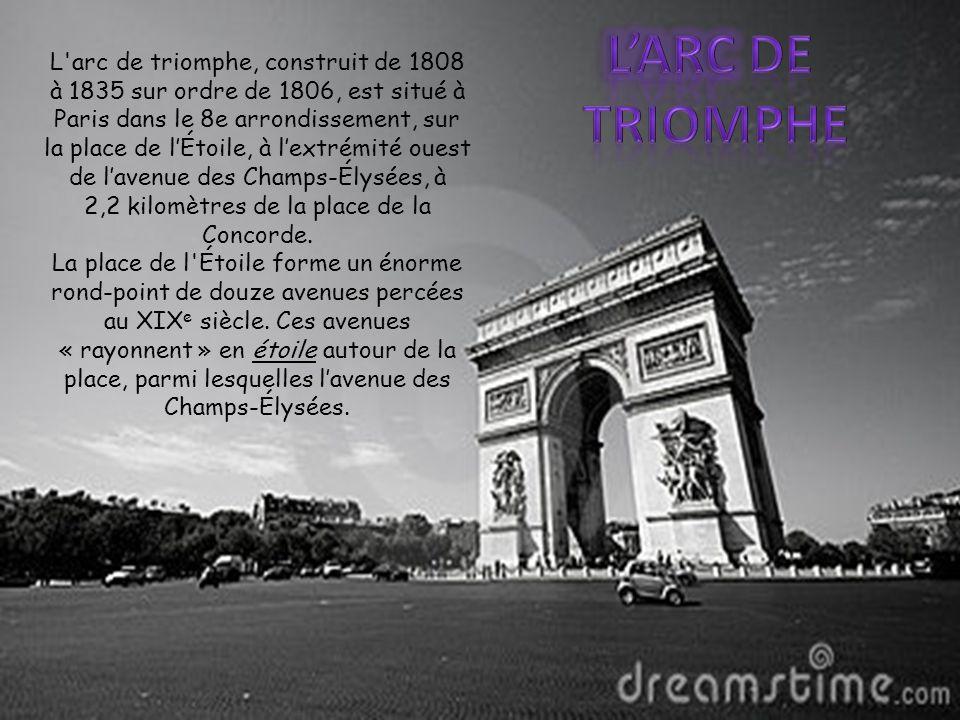 L arc de triomphe, construit de 1808 à 1835 sur ordre de 1806, est situé à Paris dans le 8e arrondissement, sur la place de l'Étoile, à l'extrémité ouest de l'avenue des Champs-Élysées, à 2,2 kilomètres de la place de la Concorde.