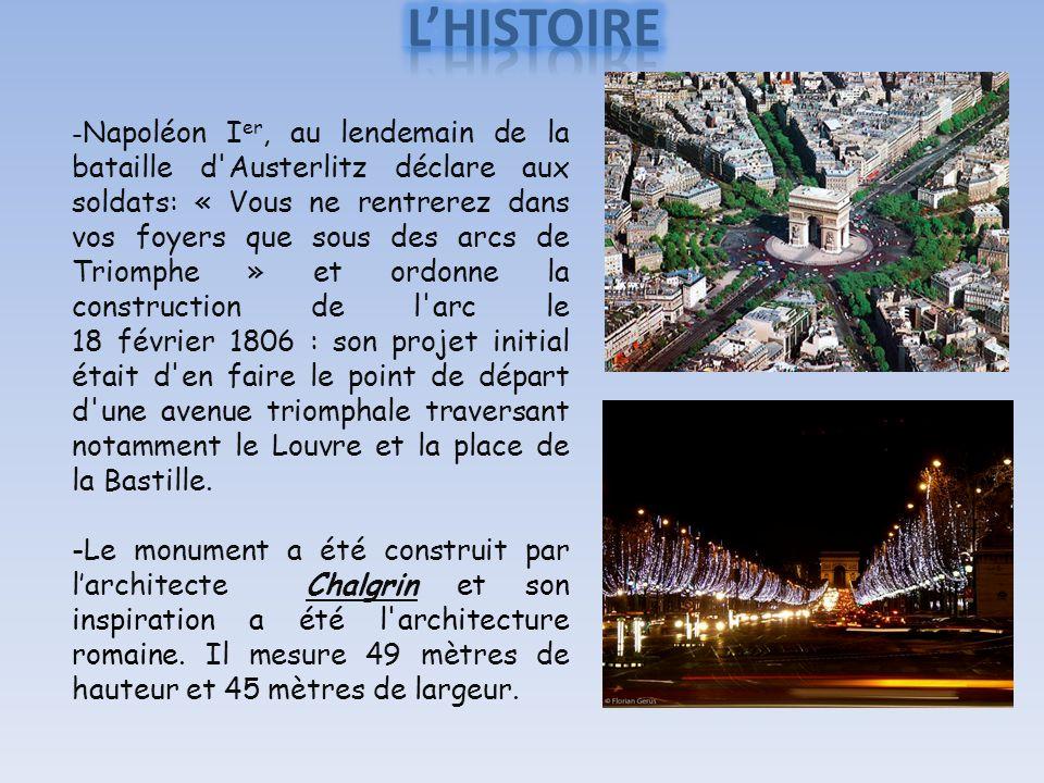 - Napoléon I er, au lendemain de la bataille d Austerlitz déclare aux soldats: « Vous ne rentrerez dans vos foyers que sous des arcs de Triomphe » et ordonne la construction de l arc le 18 février 1806 : son projet initial était d en faire le point de départ d une avenue triomphale traversant notamment le Louvre et la place de la Bastille.