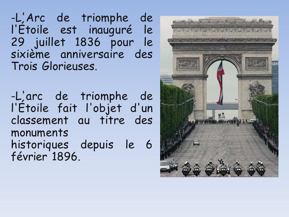 -L Arc de triomphe de l Étoile est inauguré le 29 juillet 1836 pour le sixième anniversaire des Trois Glorieuses.