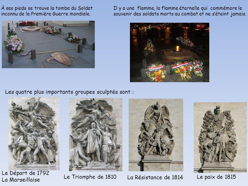 LE STYLE DE L'ARCHITECTURE- Les quatre plus importants groupes sculptés sont : Le Départ de 1792 La Marseillaise Le Triomphe de 1810 La Résistance de 1814 Le paix de 1815 À ses pieds se trouve la tombe du Soldat inconnu de la Première Guerre mondiale.